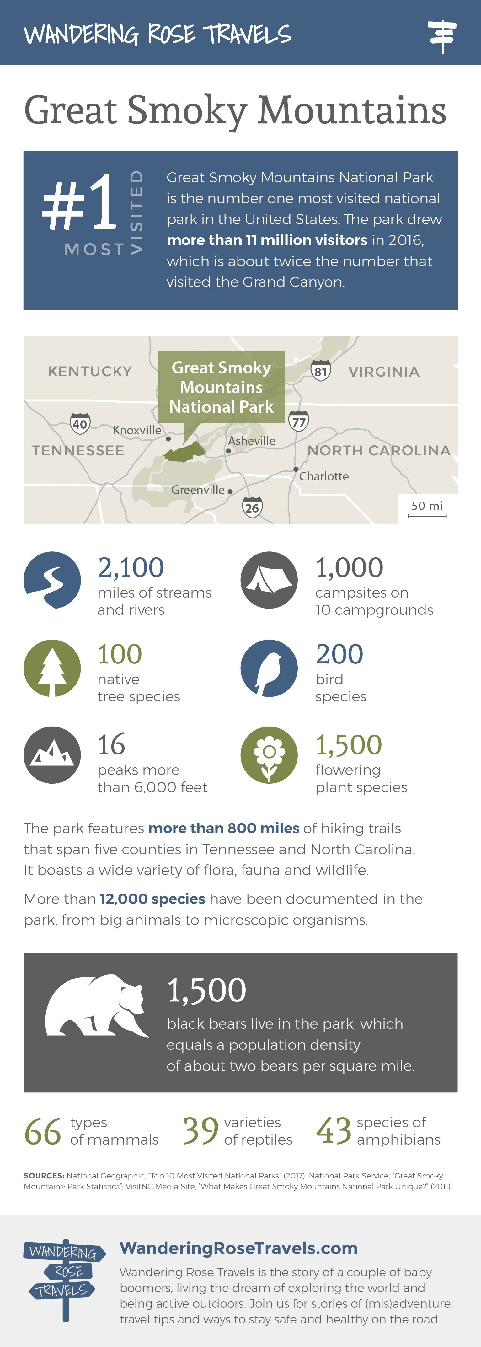 Great Smoky Mountains National Park cool facts educational infographic