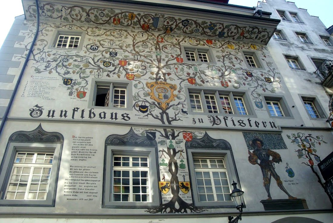Lucerne Switzerland Pfistern facade