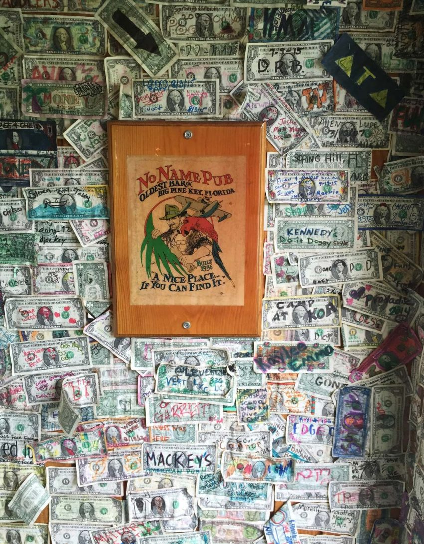 Bicycle Key West. No Name Pub dollars cover walls