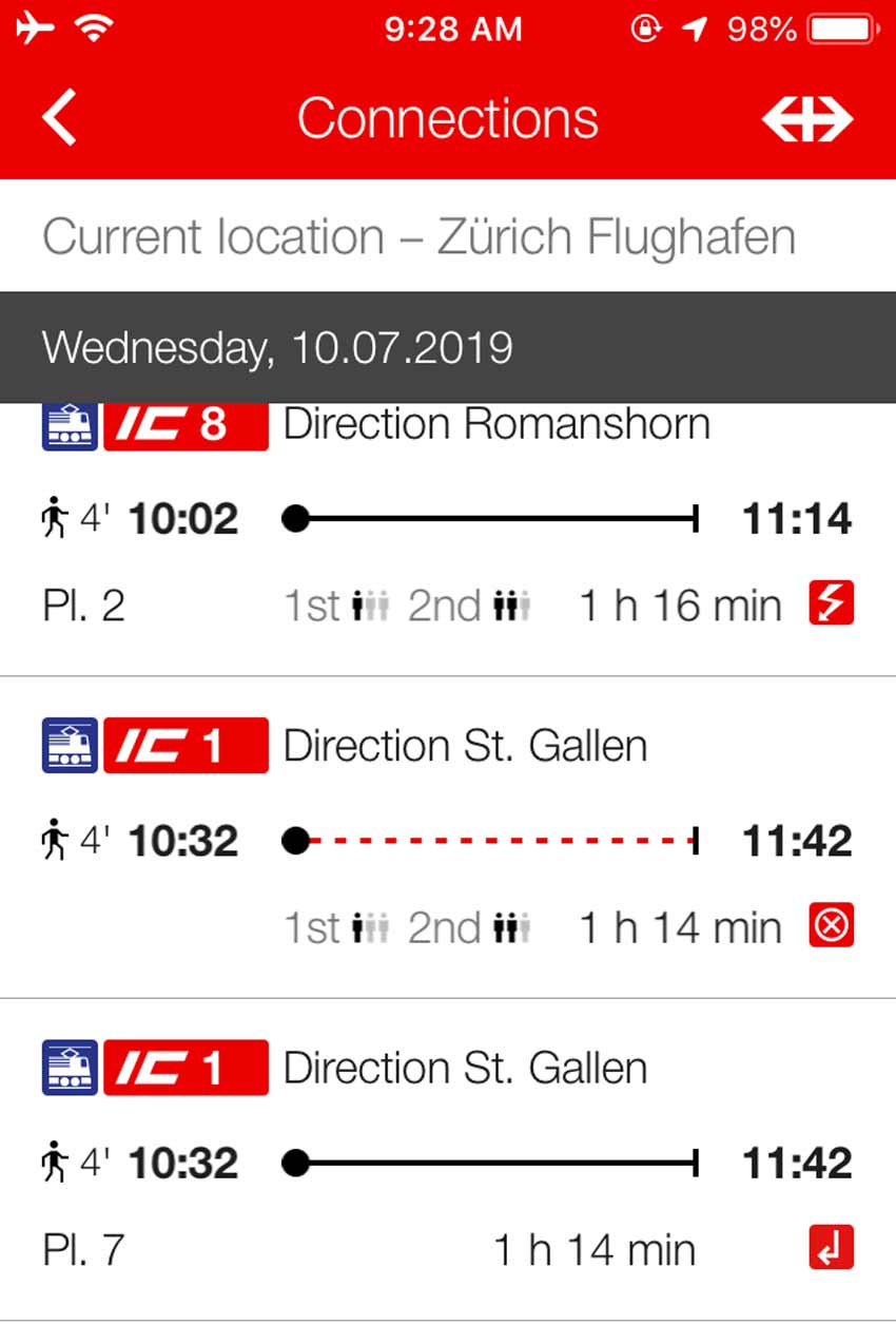 Download the SBB Mobile App for train schedules and planning information.