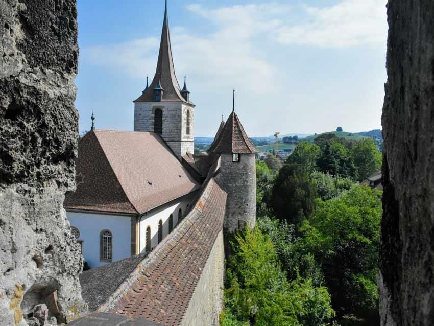 Murten rampart walls Switzerland