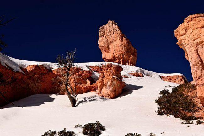 hoodoos bryce canyon snow