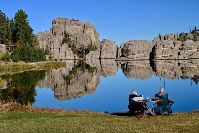 Who cares if the fish are biting with views like this at Sylvan Lake in Custer State Park.
