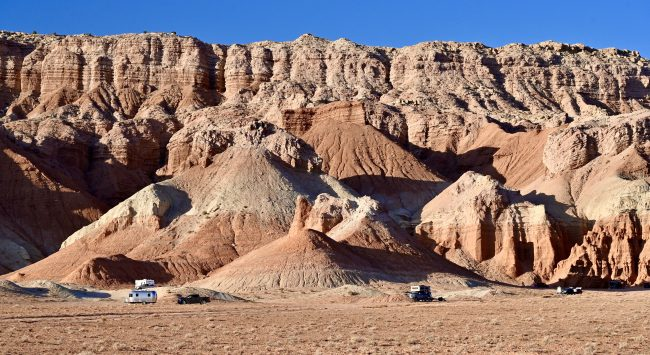 Lots of campers dotted the landscape near Goblin Valley State Park.