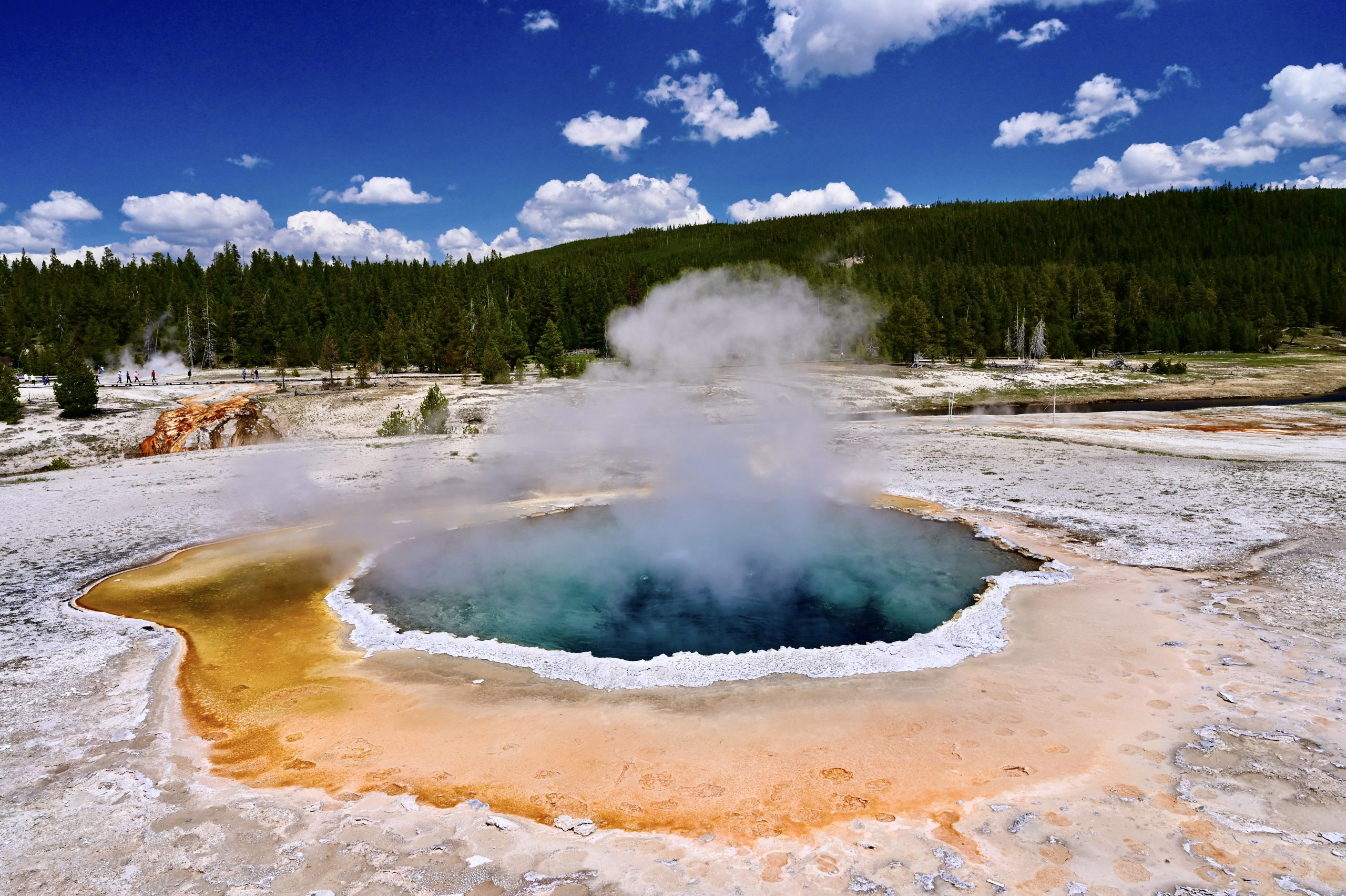 Crescent Pool is just one of many geothermal features in the Upper Geyser Basin near Old Faithful